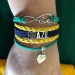צמיד עור ומתכת ברזיל I Love Brazil