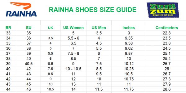 מדריך מידות של RAINHA נעלי קפוארה בזום זום חנות קפוארה