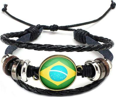 צמיד עור דגל ברזיל כדורי